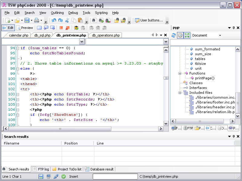 Click to view TSW phpCoder 2008 screenshot