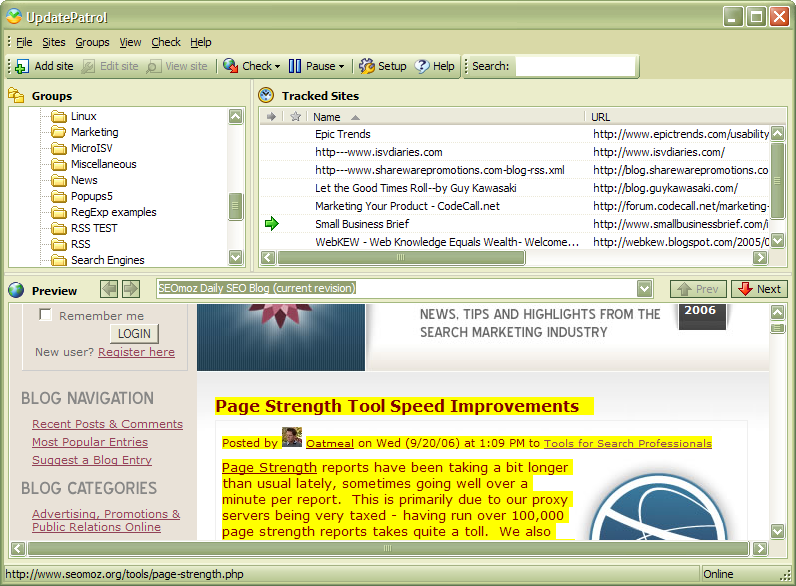 Click to view UpdatePatrol- Automatic Web Page Watcher 3.2 screenshot