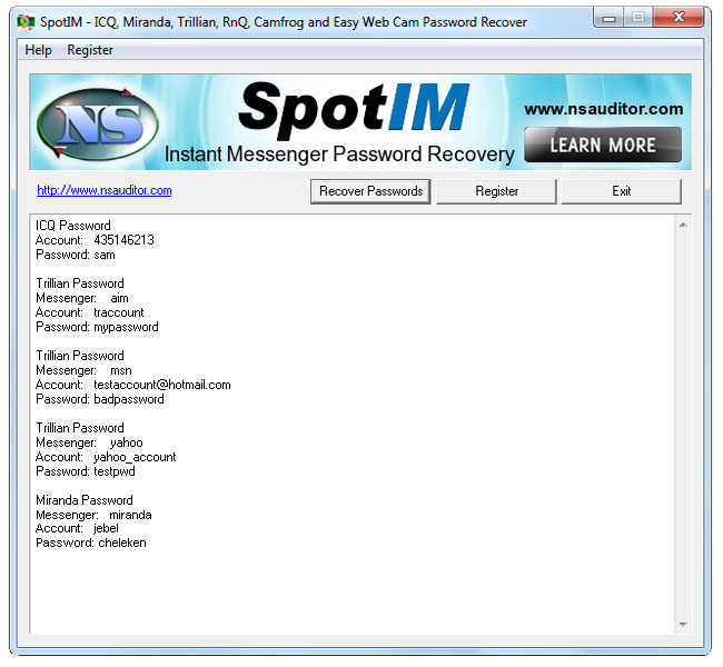 Click to view SpotIM Messenger Password Recovery 2.2 screenshot