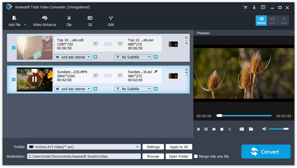 Click to view Aiseesoft Total Video Converter 7.1.82 screenshot