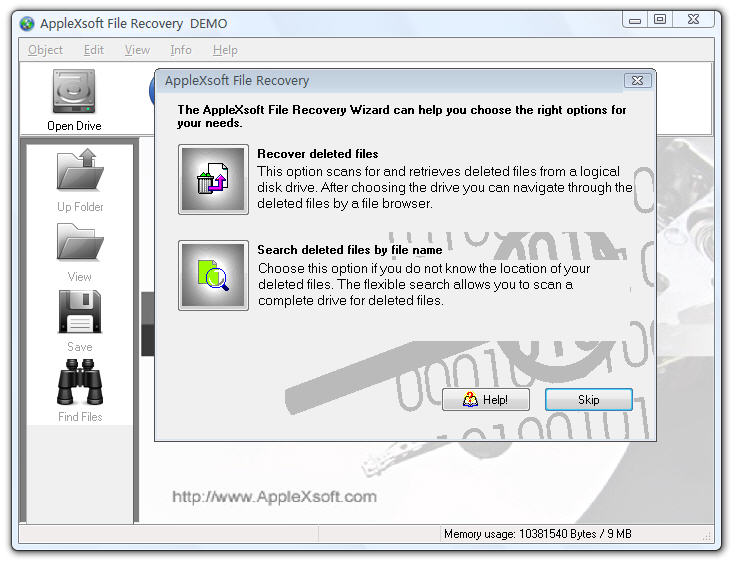 Click to view AppleXsoft Windows File Recovery 3.0 screenshot