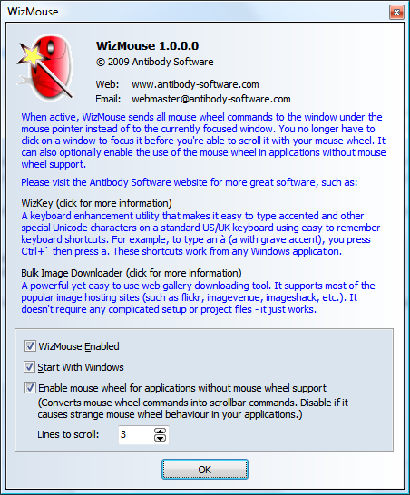 Click to view WizMouse 1.7.0.2 screenshot