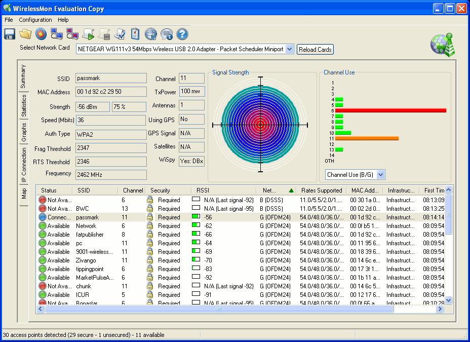 Click to view WirelessMon 4.0.1008 screenshot