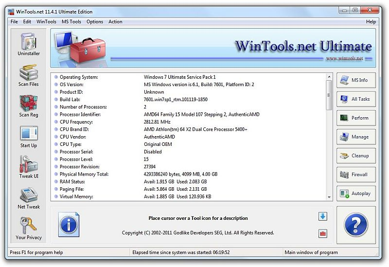 Click to view WinTools.net Ultimate 12.2.1 screenshot