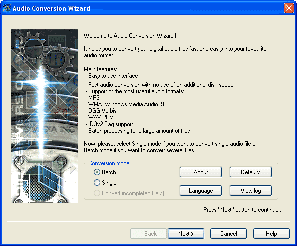 Click to view Audio Conversion Wizard 2.0 screenshot