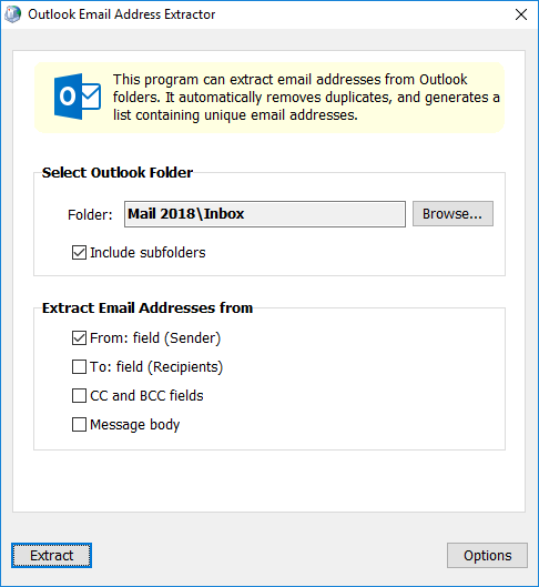 Screenshot for Outlook Email Address Extractor 5.0.8
