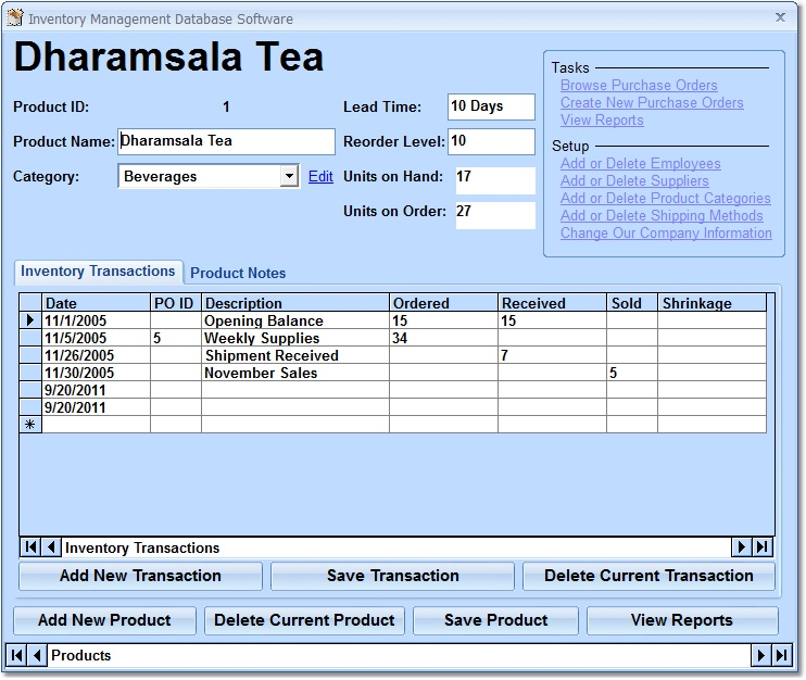 Click to view Inventory Management Database Software 7.0 screenshot