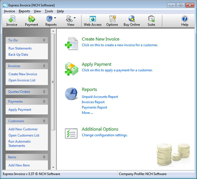 Click to view Express Invoice Free Edition 4.15 screenshot
