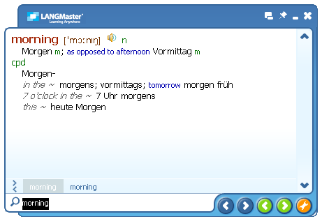Click to view English-German Collins Dictionary (DE) 2.1 screenshot