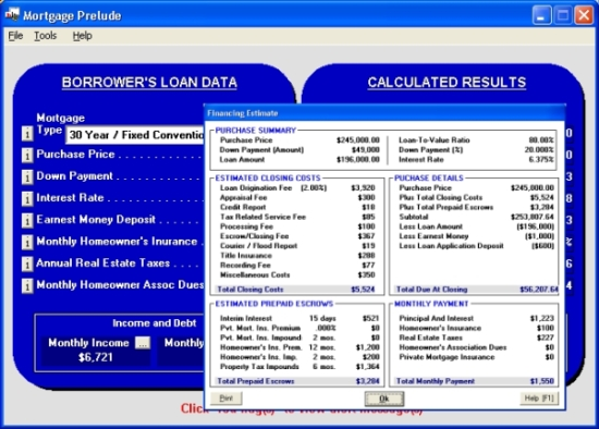 Click to view Mortgage Prelude 2.6.4.090 screenshot