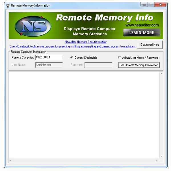 Click to view RemoteMemoryInfo 1.3.2 screenshot
