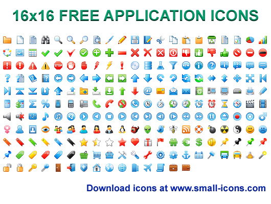 Click to view 16x16 Free Application Icons 2013.1 screenshot