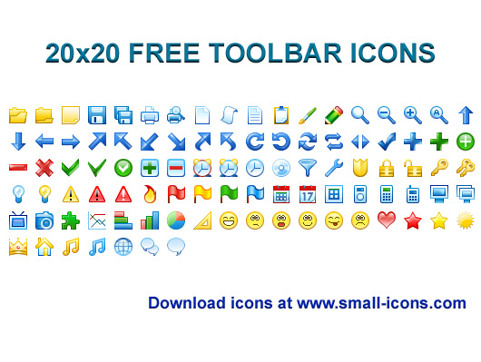Click to view 20x20 Free Toolbar Icons 2013.1 screenshot