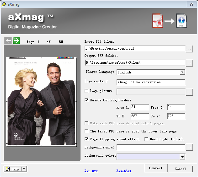 Click to view aXmag PDF to Flash Converter 2.38 screenshot
