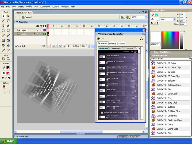 Click to view GaDGeTS AS2, Flash Animation Components 1.1.0 screenshot
