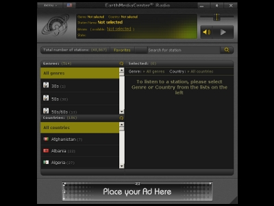 Click to view EarthMediaCenter Radio Portable 1.4 screenshot
