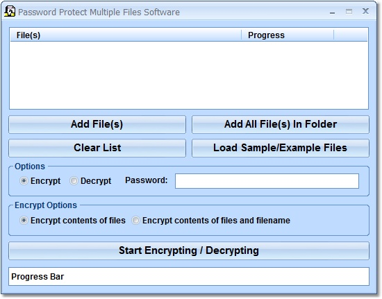 Click to view Password Protect Multiple Files Software 7.0 screenshot