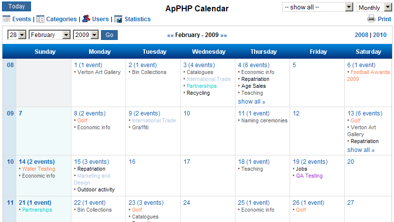 Click to view PHP Events Calendar Control 3.7.5 screenshot