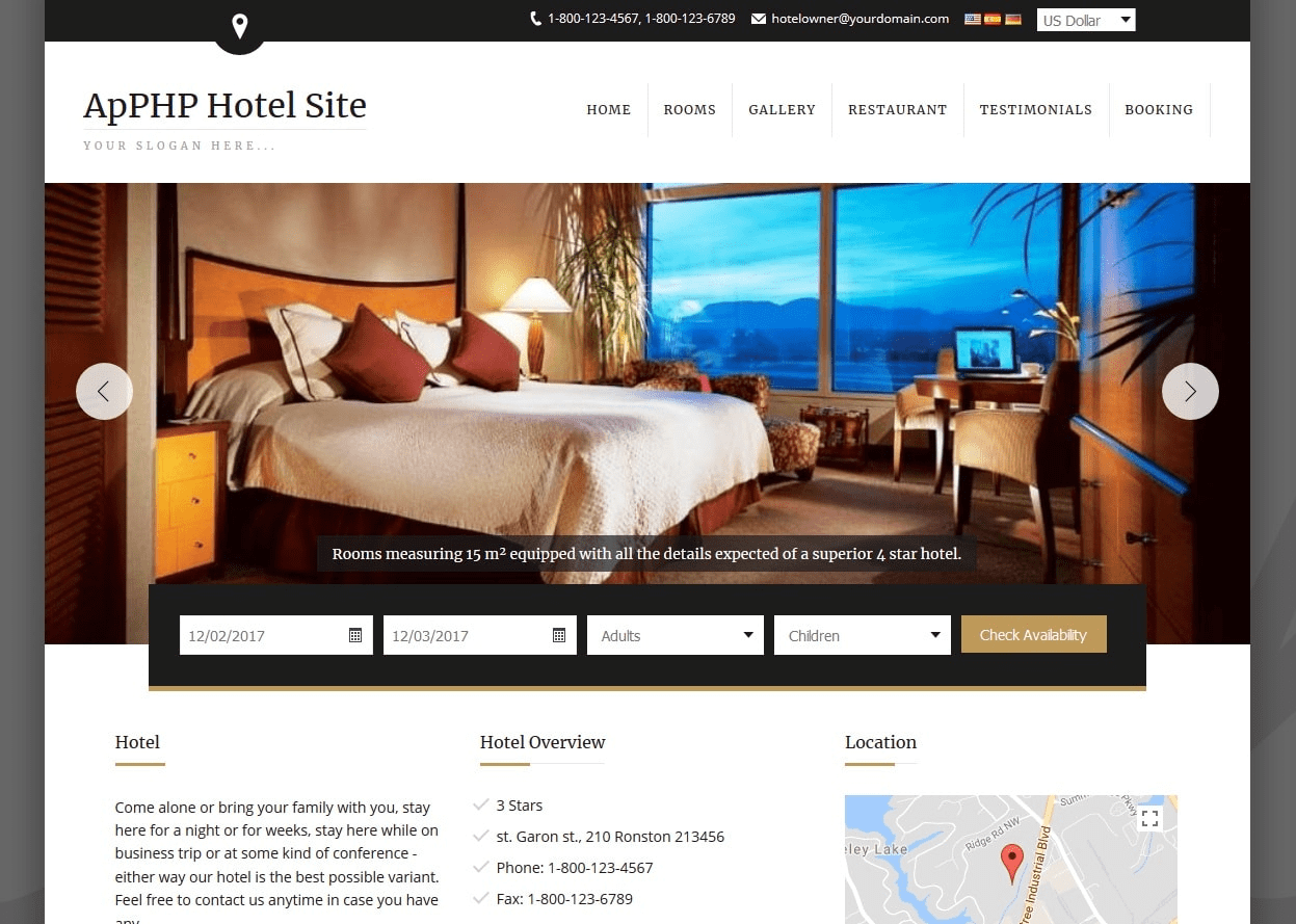 Click to view ApPHP Hotel Site web reservation system 4.2.9 screenshot