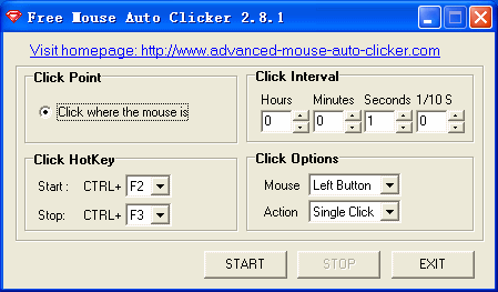 Click to view Free Mouse Auto Clicker 3.4.3 screenshot