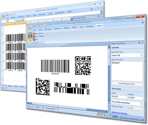 Click to view Barcode Word/Excel Add-In TBarCode Office 10.5.5 screenshot