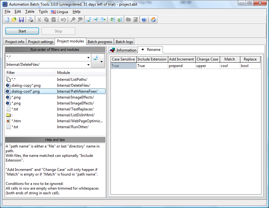 Click to view Automation Batch Tools 3.2.3 screenshot