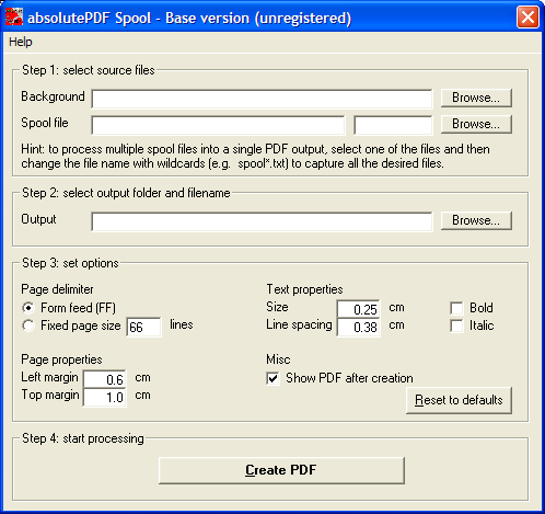Click to view absolutePDF-Spool Base 1.1 screenshot