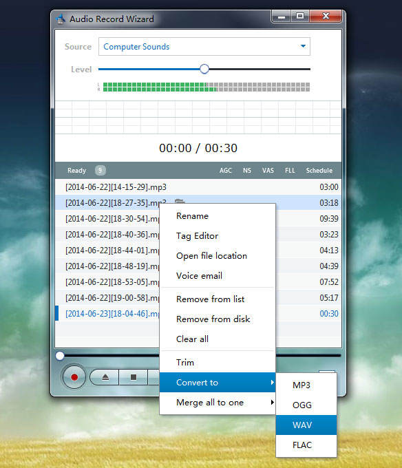 Click to view Audio Record Wizard 7.16 screenshot
