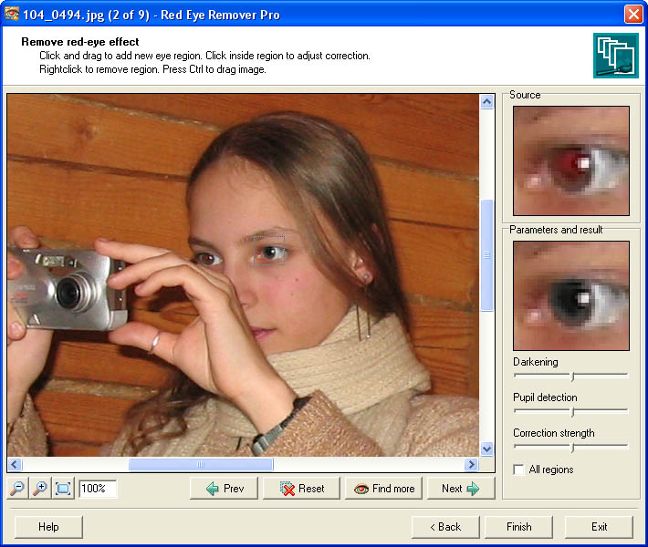 Click to view Red Eye Remover Pro 1.2 screenshot