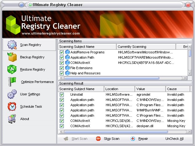 Click to view Ultimate Registry Cleaner 12.0 screenshot