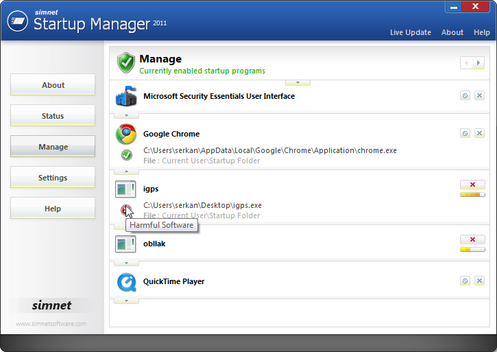 Click to view Simnet Startup Manager 2011 3.1.2.1 screenshot
