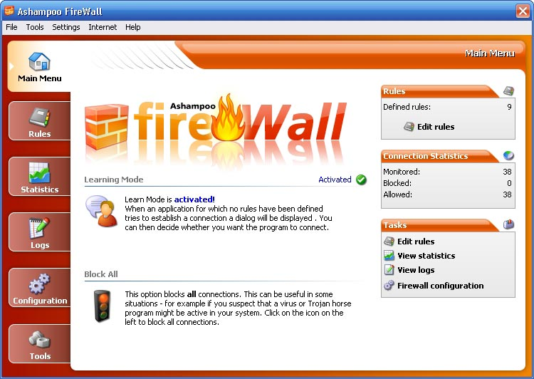 Click to view Ashampoo Firewall FREE 1.20 screenshot