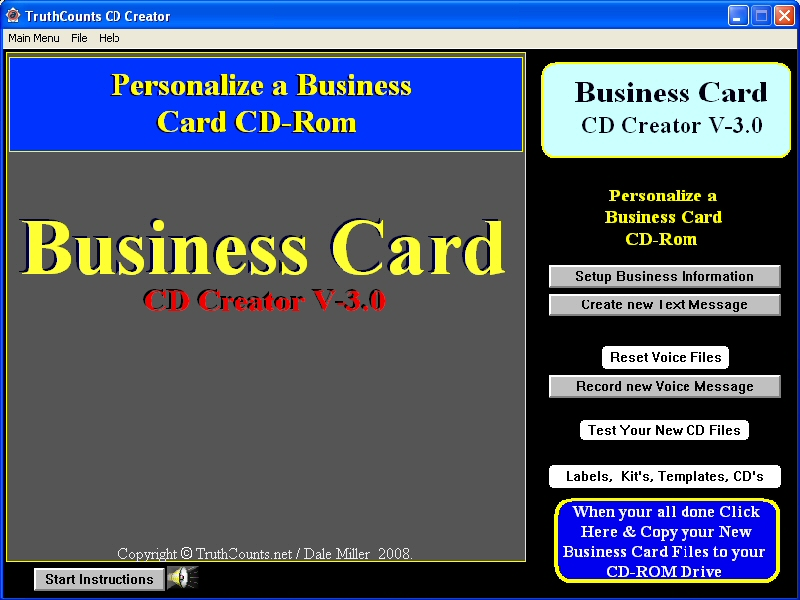 Click to view Business Card CD, DVD Creator 3.0 screenshot