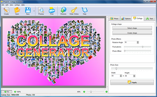 Click to view Collage Generator 1.36 screenshot