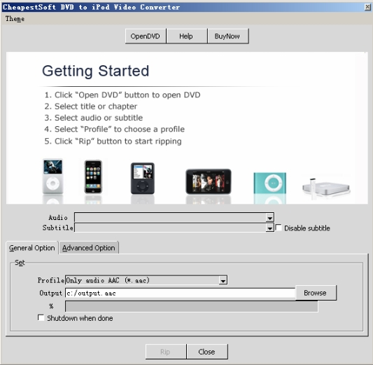Click to view CheapestSoft DVD to iPod Video Converter 2.0.1 screenshot