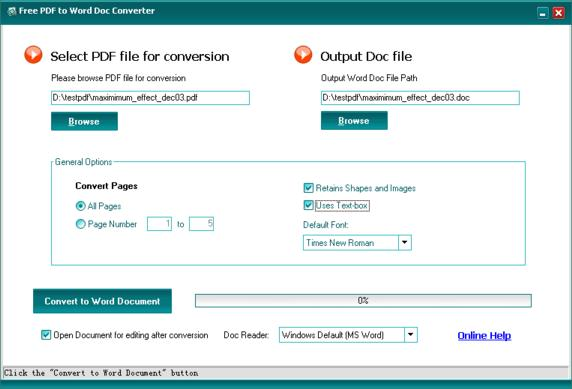 Click to view Free PDF to Word Doc Converter 1.1 screenshot