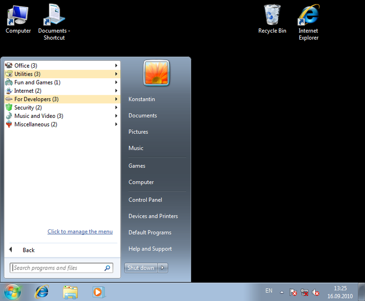 Click to view Handy Start Menu 1.80 screenshot
