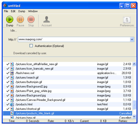 Click to view Web Dumper 3.3.6 screenshot