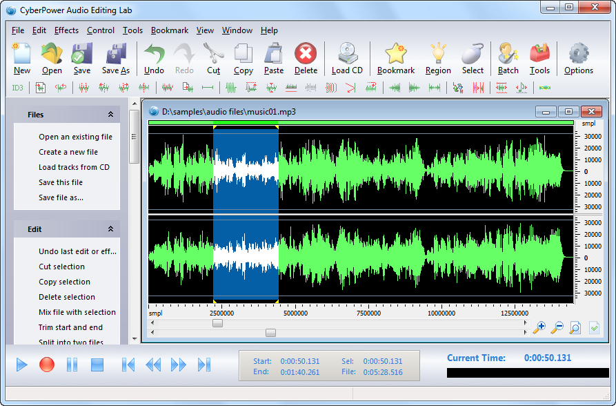 Click to view CyberPower Audio Editing Lab 15.9.5 screenshot