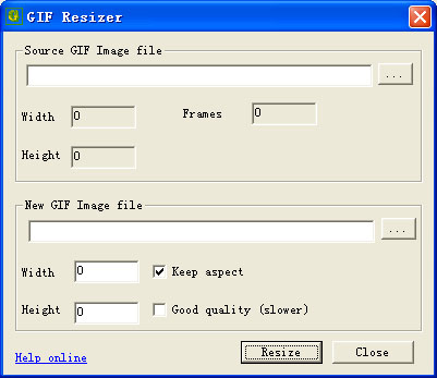 Click to view GiF Resizer 1.10 screenshot