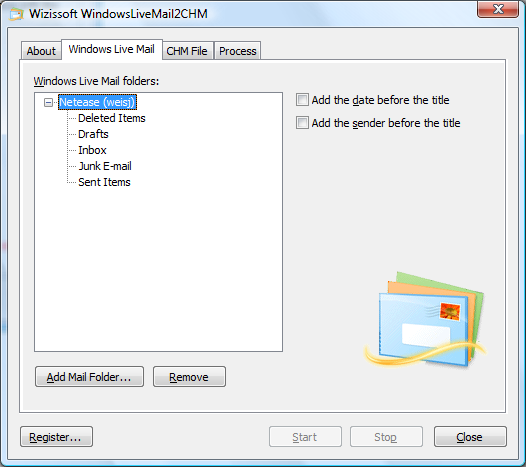 Click to view WindowsLiveMail2CHM 5.0 screenshot