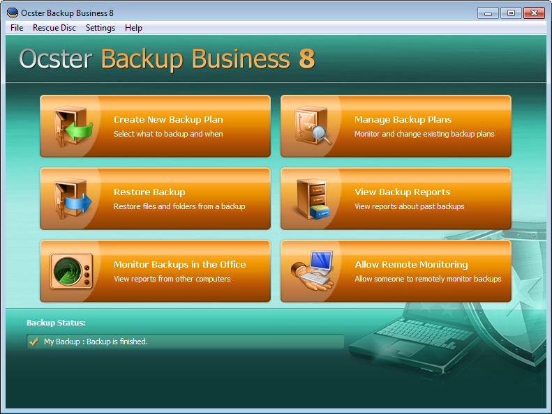 Click to view Ocster Backup Business 8.15 screenshot