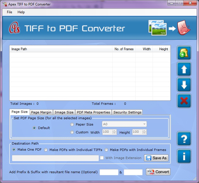 Click to view Convert TIFF Files to PDF 2.8.0.4 screenshot