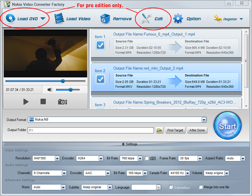 Click to view Free Nokia Video Converter Factory 6.1 screenshot