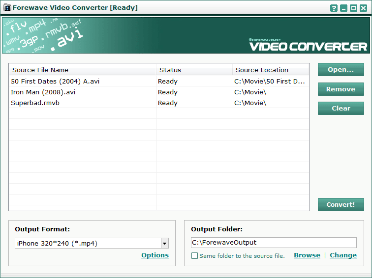Click to view Forewave Video Converter 2.0 screenshot