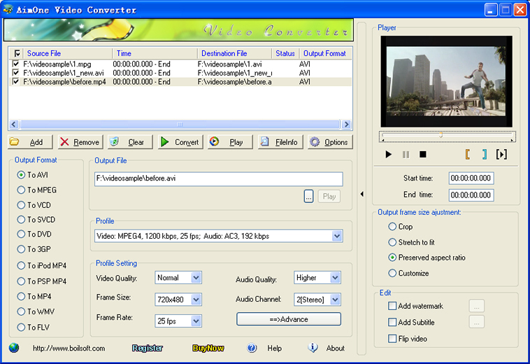 Click to view AimOne WMV Converter 1.51 screenshot