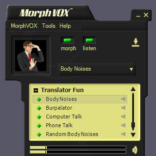 Click to view Translator Fun Voices - MorphVOX Add-on 1.5.1 screenshot