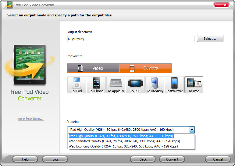 Click to view Free AVI/WMV/MP4/FLV to iPad Converter 4.8.8 screenshot