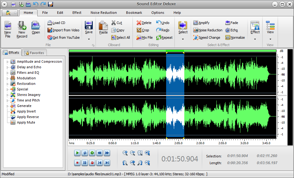 Click to view Sound Editor Deluxe 7.4.9 screenshot