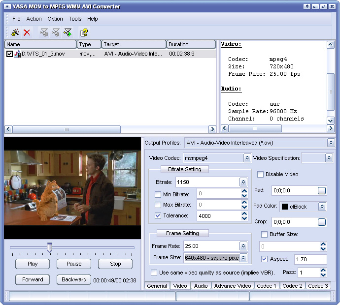 Click to view YASA MOV to MPEG WMV AVI Converter 3.3.56.1574 screenshot